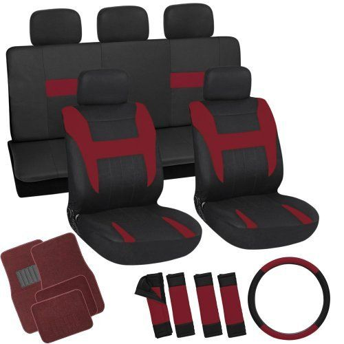 OxGord 21pc Black Red Flat Cloth Seat Cover And Carpet Floor Mat Set For The