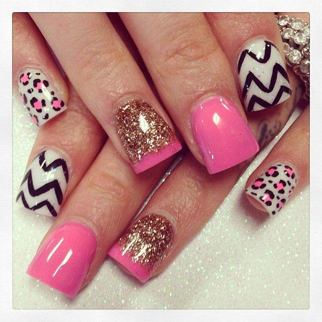 Pink, gold, glitter, chevron.