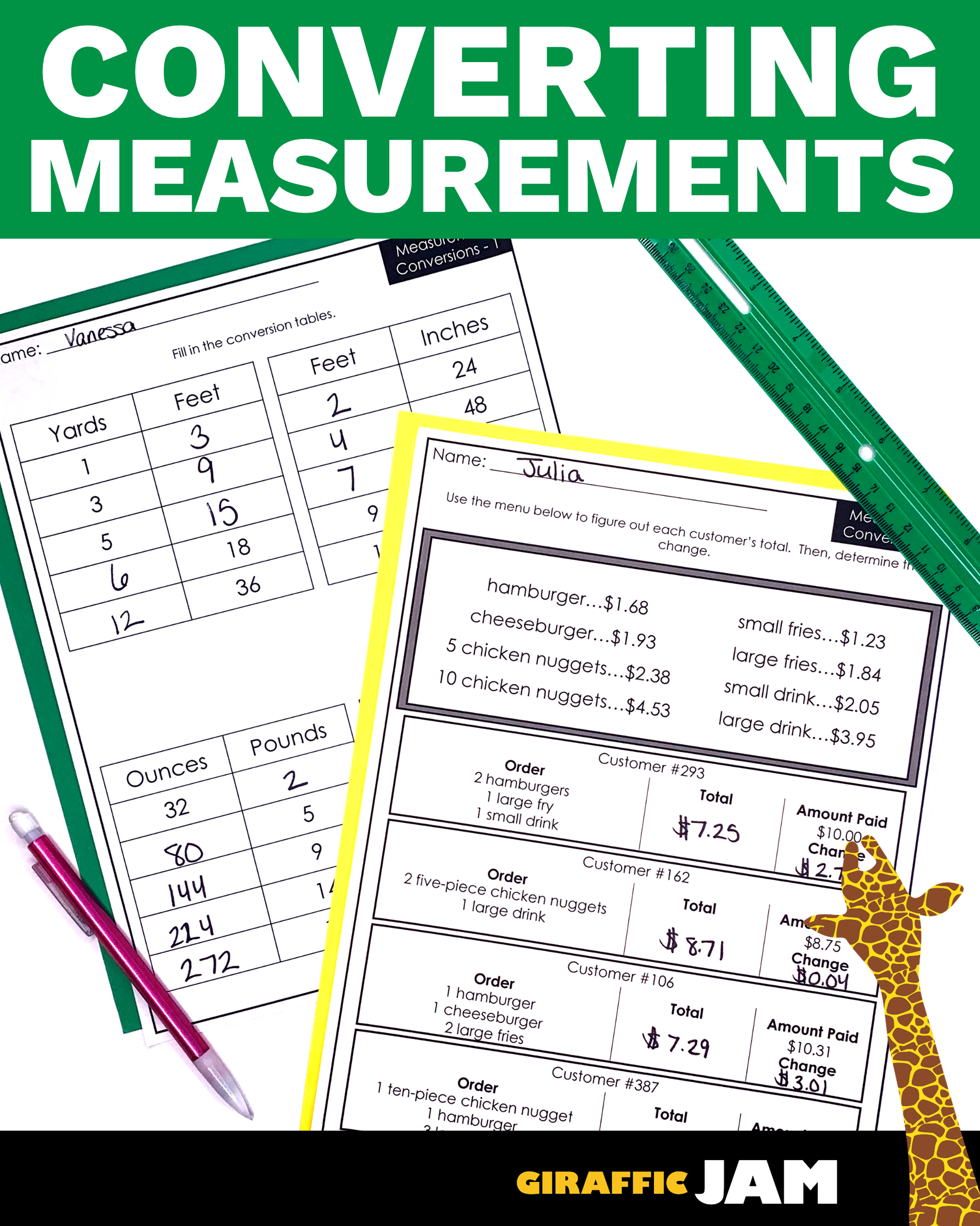 Measurement Conversion Worksheets