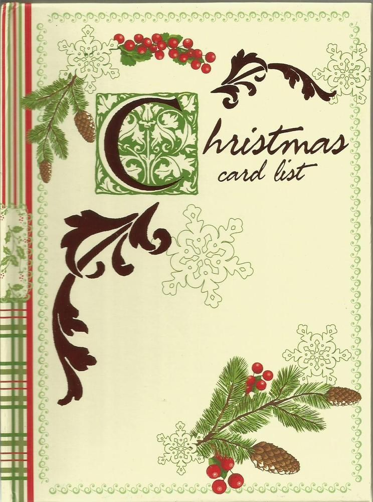 c r gibson christmas card list book 6 year record pinecones and