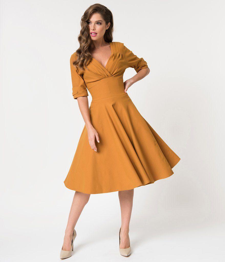 Unique Vintage 1950s Mustard Yellow Delores Swing Dress With Sleeves Yellow Vintage Dress Swing Dress With Sleeves Mustard Yellow Dresses [ 1023 x 879 Pixel ]
