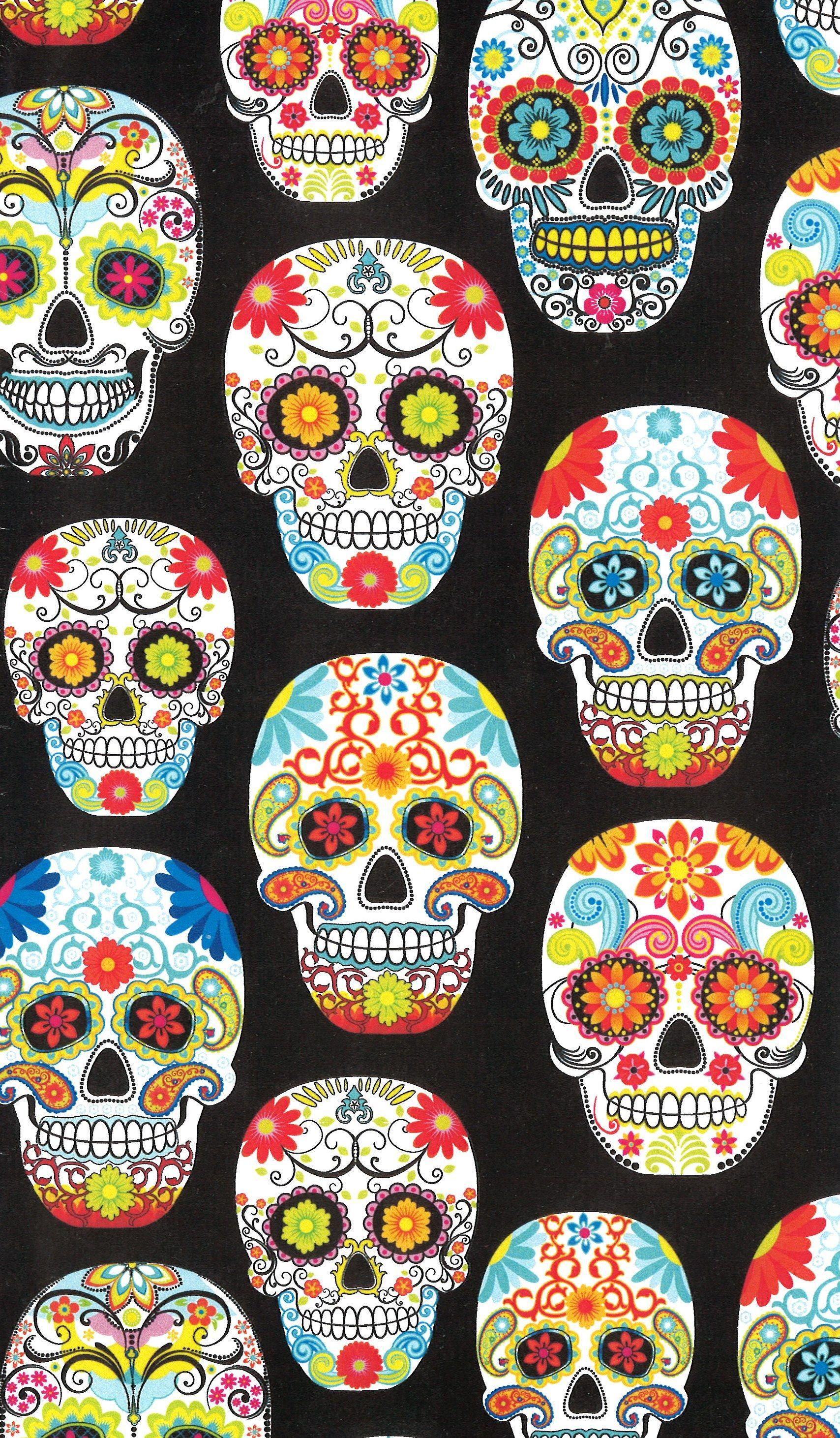Novelty Cotton Fabric Multi Skulls On Black Skull Wallpaper