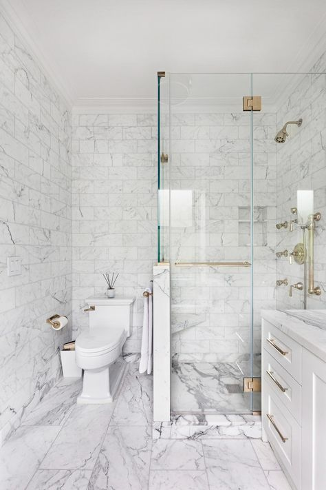 Carrera Marble Bathrooms Shaker Cabinets Two Piece Toilet Hinged Glass Door Alcove Shower White Tiles Grey Backsplash Contemporary Design Of Fabulous