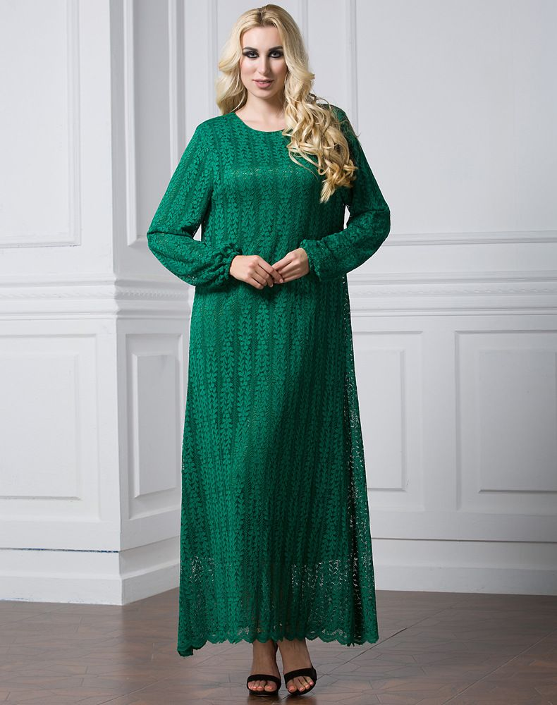 77ca51866716 Fashionable Design Muslim Mature Women Long Sleeve Maxi Dress Islamic Lace  Dress 7Xl Plus Size Plain Khaki Black Green Lace Dress