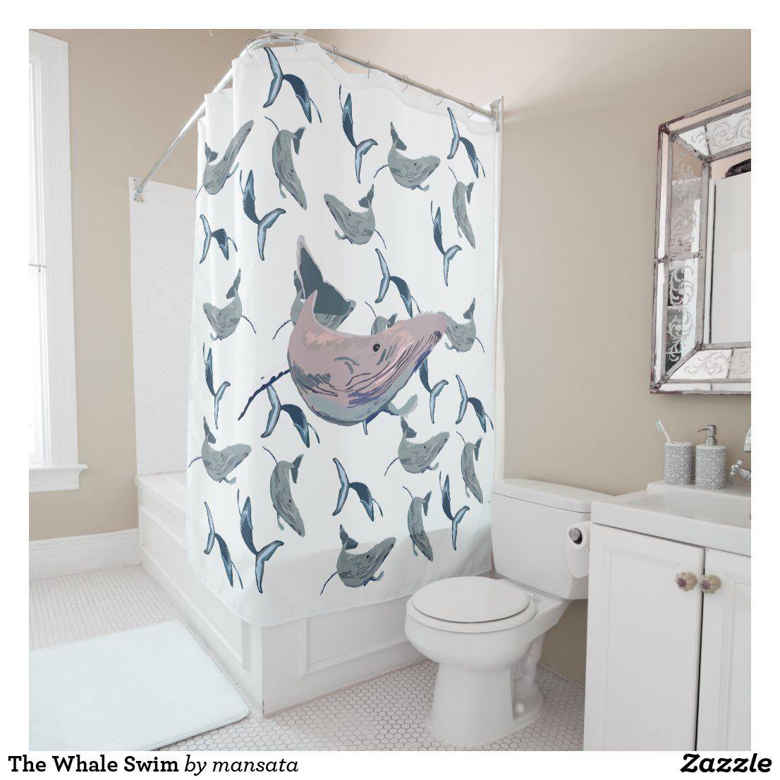 The Whale Swim Shower Curtain Zazzle Com Curtains Shower