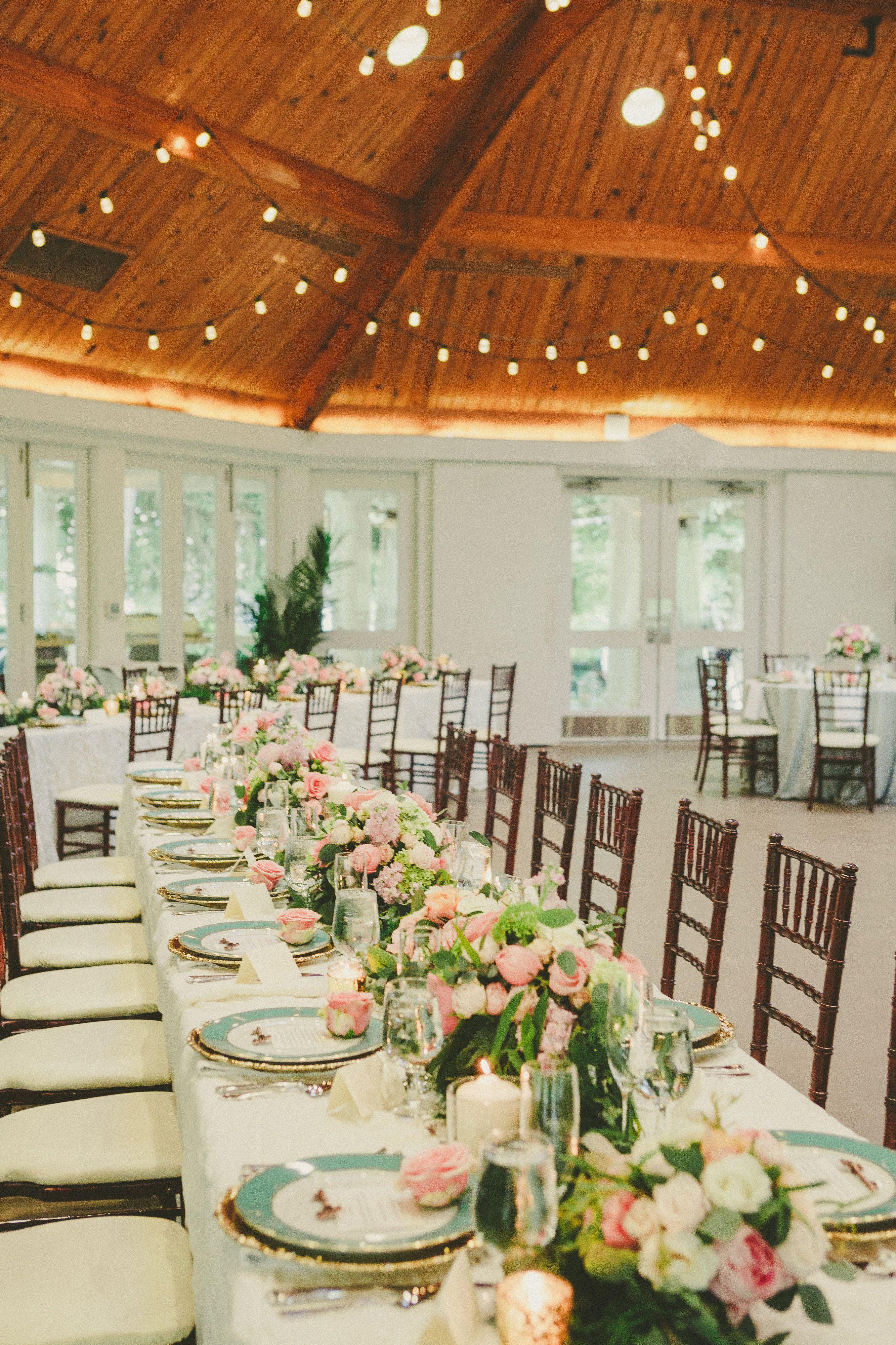 backyard wedding venues in orange county ca%0A Summer wedding in Virginia  Airlie pavilion wedding reception  blue  gold   pink wedding