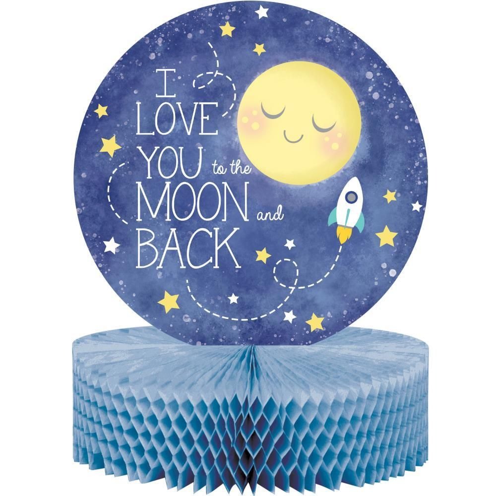 "To the Moon and Back Honeycomb Centerpiece 12/"" x 9/"" Baby Shower Decoration"