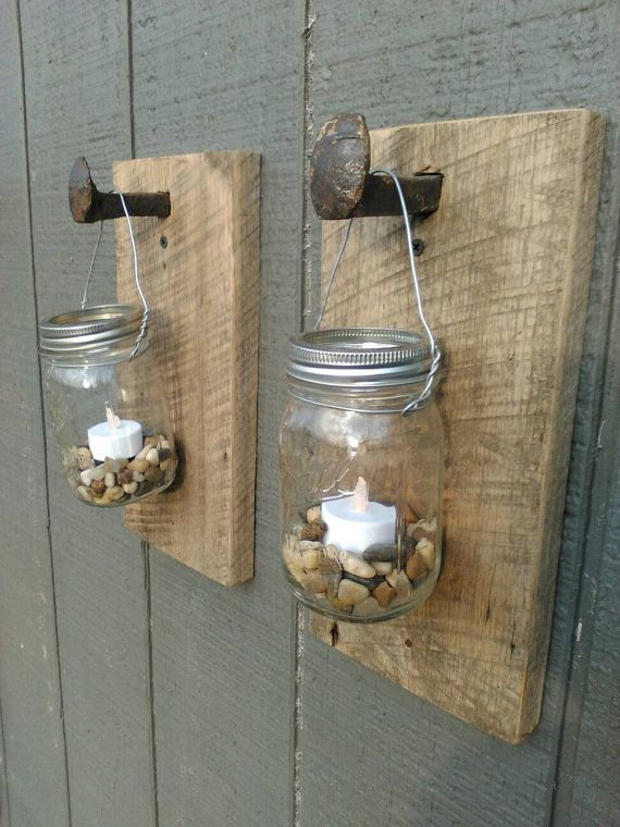 Mason Jar Railroad Spike Barn Wood Lanterns By