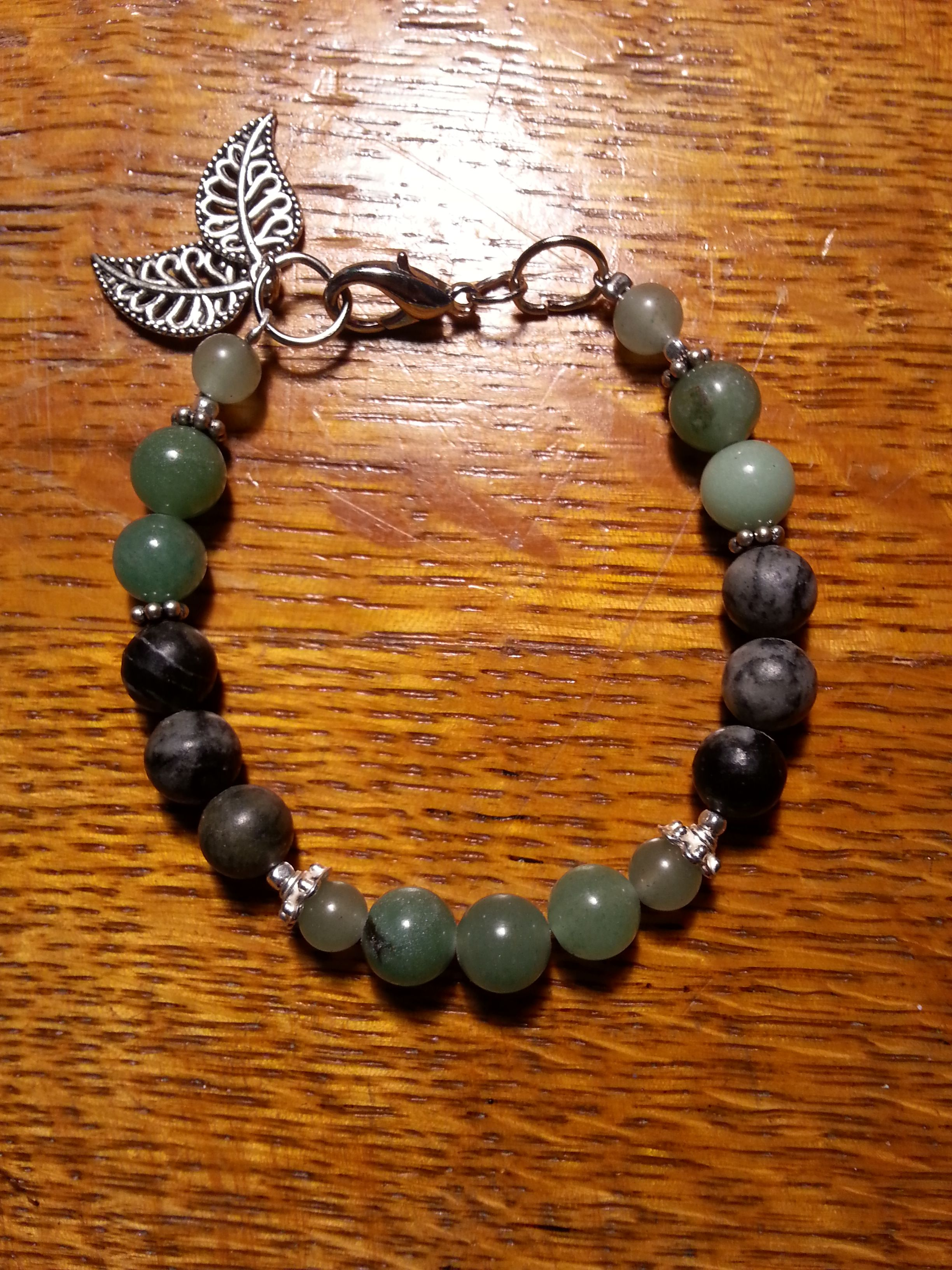 Jade And Charcoal Bracelet Made Out Of Stone And Glass