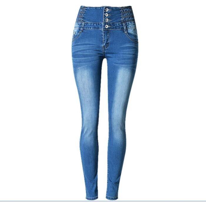 48757fd820 Européen et Américain Femme Jeans Taille Haute Slim Série de Bouton  Élasticité Jean Pieds de Pantalon