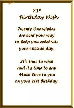 21st Birthday Wish 21st Birthday Poems 21st Birthday Wishes