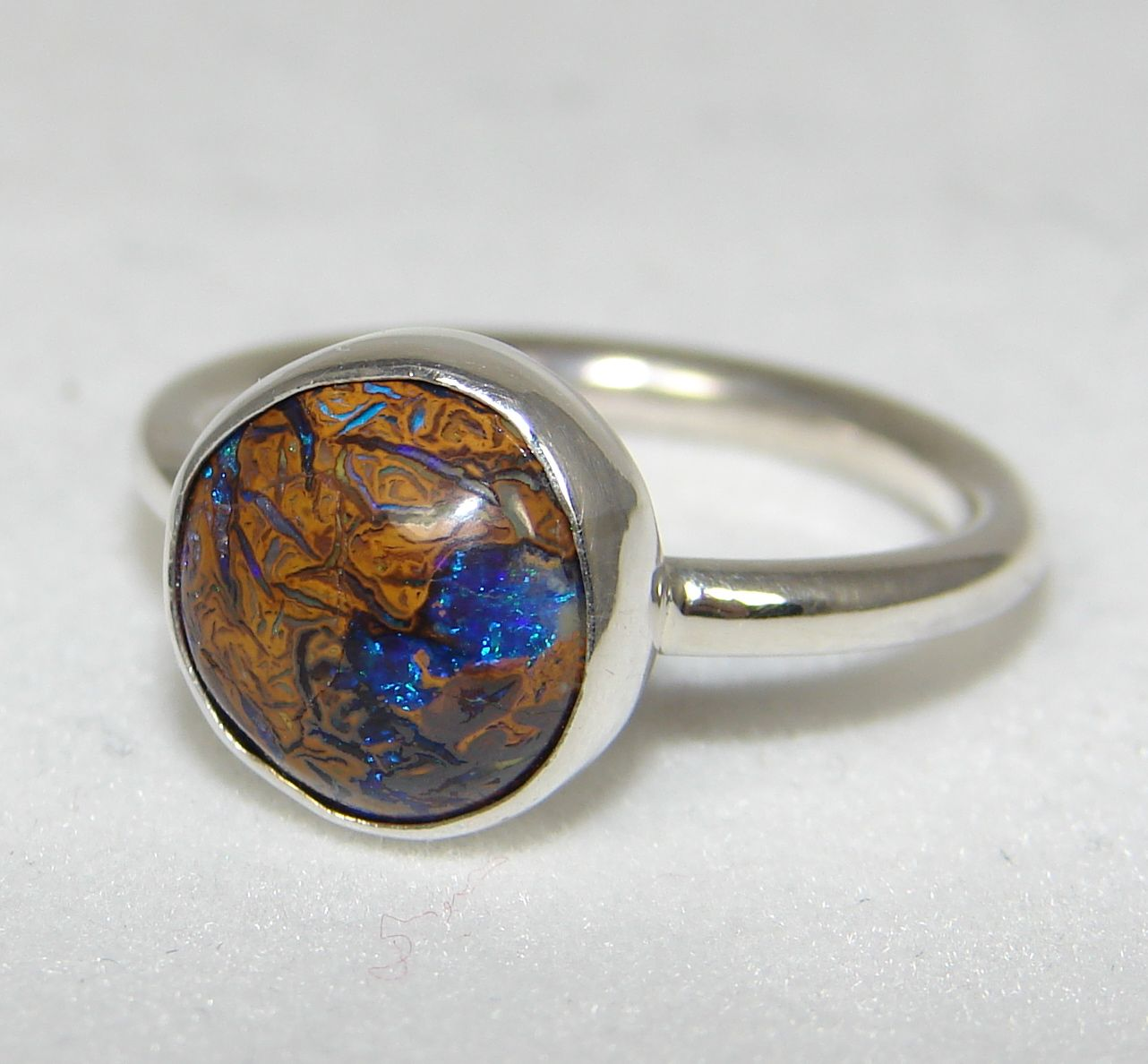 SOLD Sterling silver Australian boulder opal ring size 5 1/2