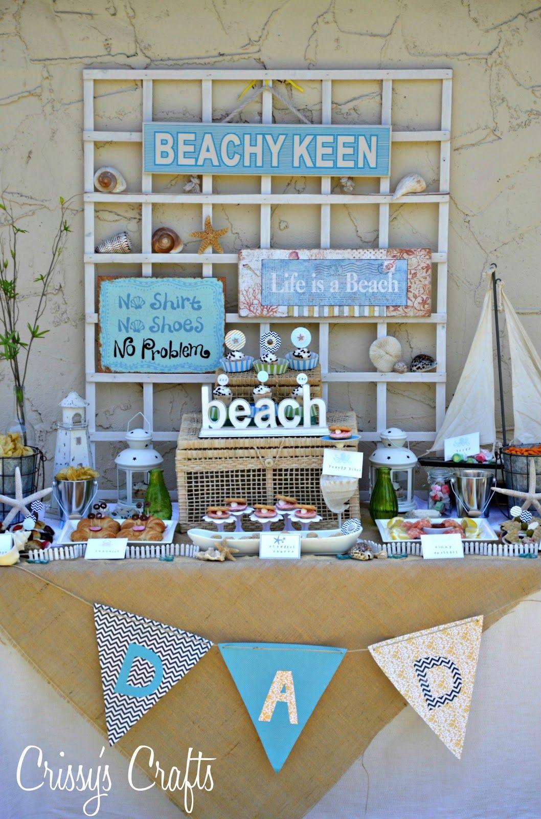 beach theme party idea, love the buckets.make banner like