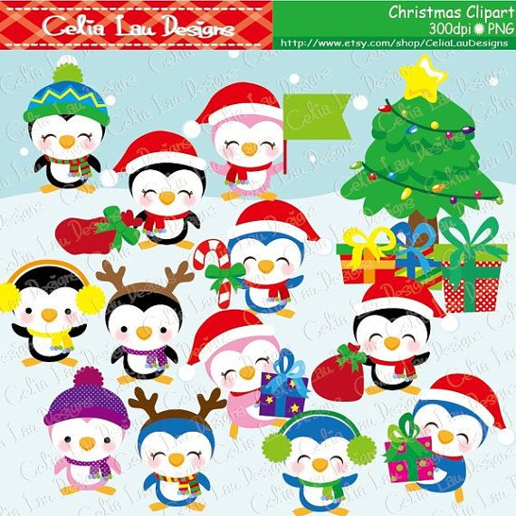 Christmas clipart Christmas Penguins CG095  by CeliaLauDesigns