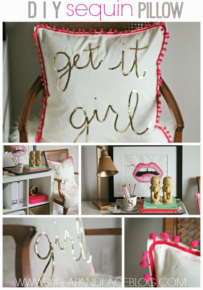 DIY: $5 Gold and Pink Sequin Pillow | Burlap and Lace