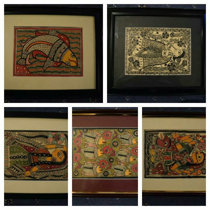 Madhubani painting on handmade paper with natural colours. For order email at priyanka5rs11@gmail.com or WhatsApp at 00447889562384.