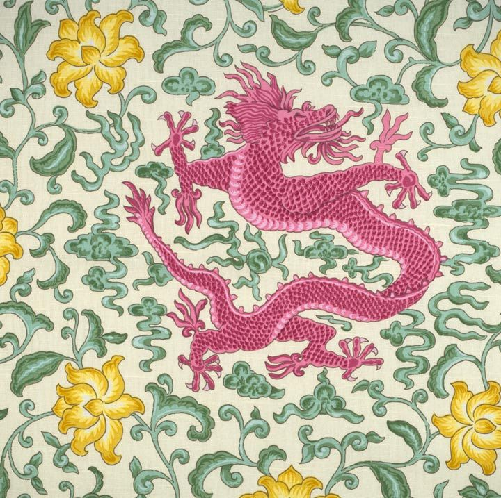 SCALAMANDRE CHINOISERIE CHI'EN DRAGON TOILE FABRIC PINK ...
