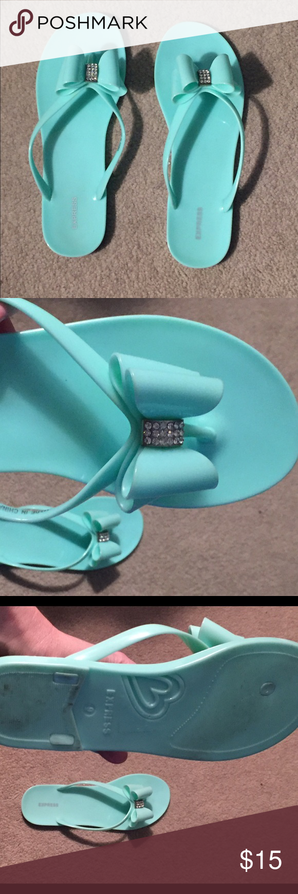 Jeweled Jelly Bow Flip Flops Jeweled jelly bow flip flops in a pretty robin egg blue color. Size 9 - worn maybe once or twice. Super cute - sadly just a 1/2 size too small for me. Express Shoes Sandals