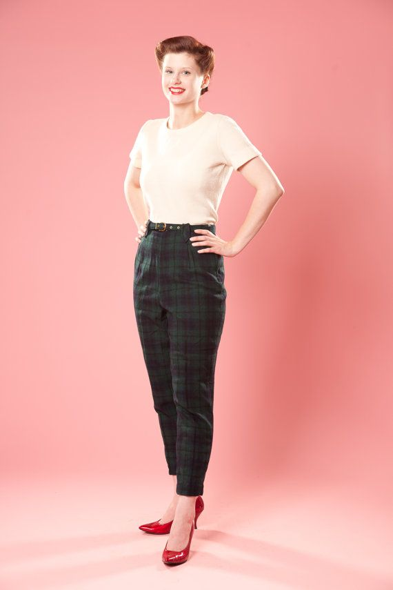719c155def6 1950s black watch plaid pants special for  Heather Gregg!  vintage  plaid   blackwatch  fall  fashion  wool  pants  highwaisted  48