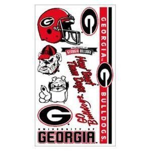 Georgia Bulldogs Temporary Tattoos by Georgia. $5.99. Officially Licensed NCAA Product. Officially licensed temporary tattoos. Each tattoo sheet comes with a collection of ten different temporary tattoos. Tattoos are applied with a wet cloth and easily removed with clear tape. Made in USA.