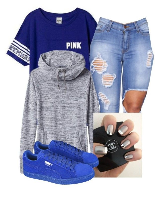 """Comment please"" by darkskinn-awa ❤ liked on Polyvore featuring Victoria's Secret, Athleta and Puma"