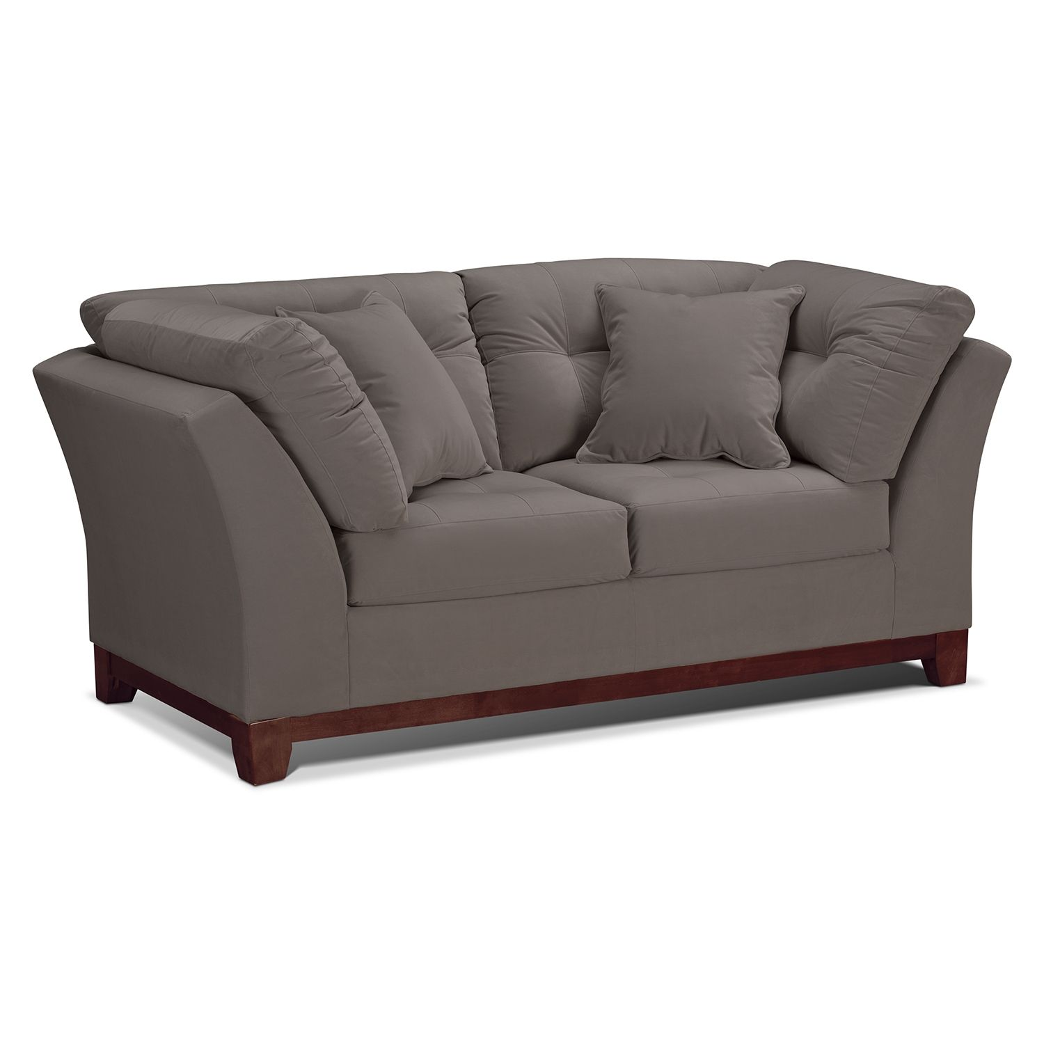Living room furniture solace gray loveseat