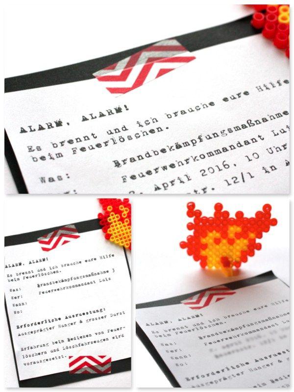 feuerwehrparty einladung feuerwehrgeburtstag | kindergeburtstag, Einladungen