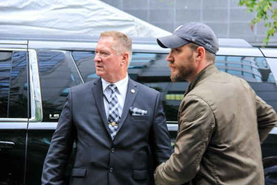 Tom  Hardy at the Legend Press Conference in Toronto on September 13, 2015.