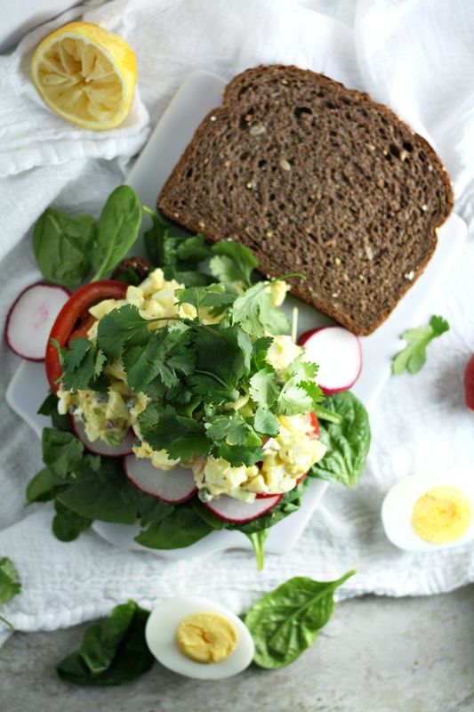 Spring Egg Salad with Capers, Radish and Cilantro (vegetarian sandwich recipe) by Drool-Worthy
