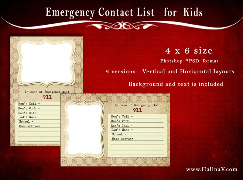 Free Psd Template  Emergency Contact List For Kids Babysitters