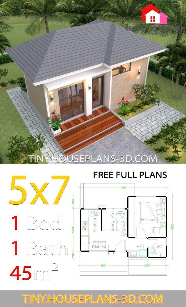 Small House Design Plans 5x7 With One Bedroom Hip Roof Tiny House Plans Projetos De Casas Ideias De Casa Pequena Arquitetura Moderna