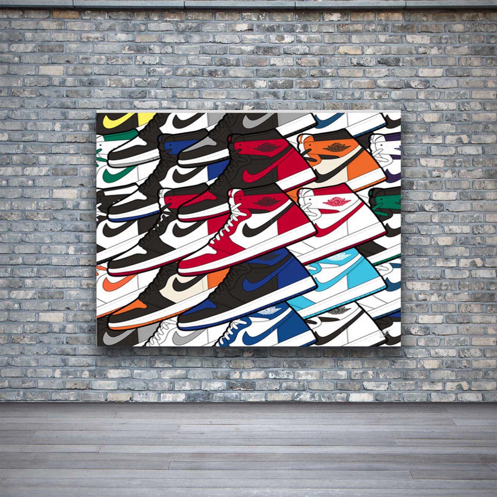 Air Jordan 1 Colorful Design Wall Art Canvas Print Poster $25.0 | Wall art designs, Canvas ...