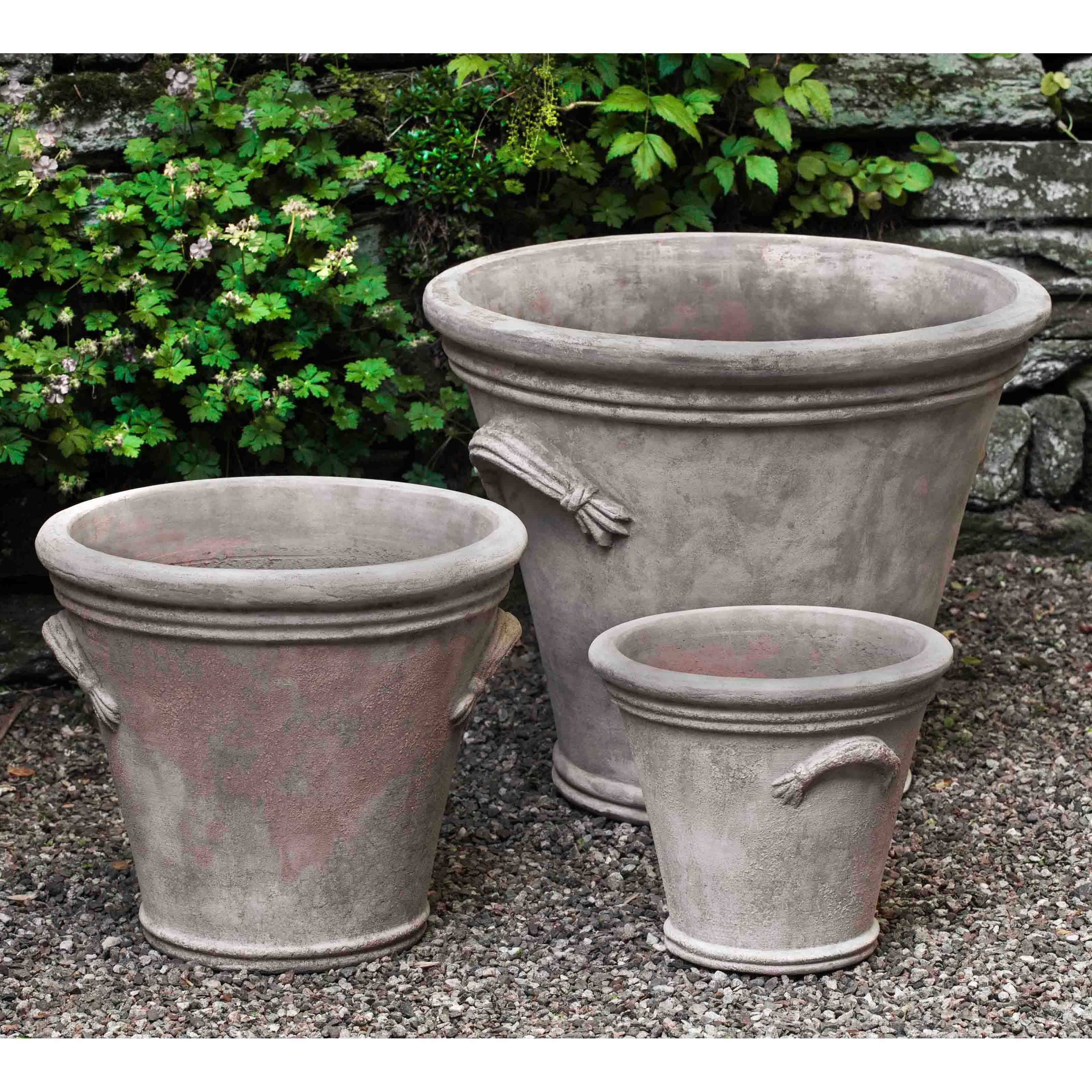 Campania International Fluted Handle Planter - Set of 3