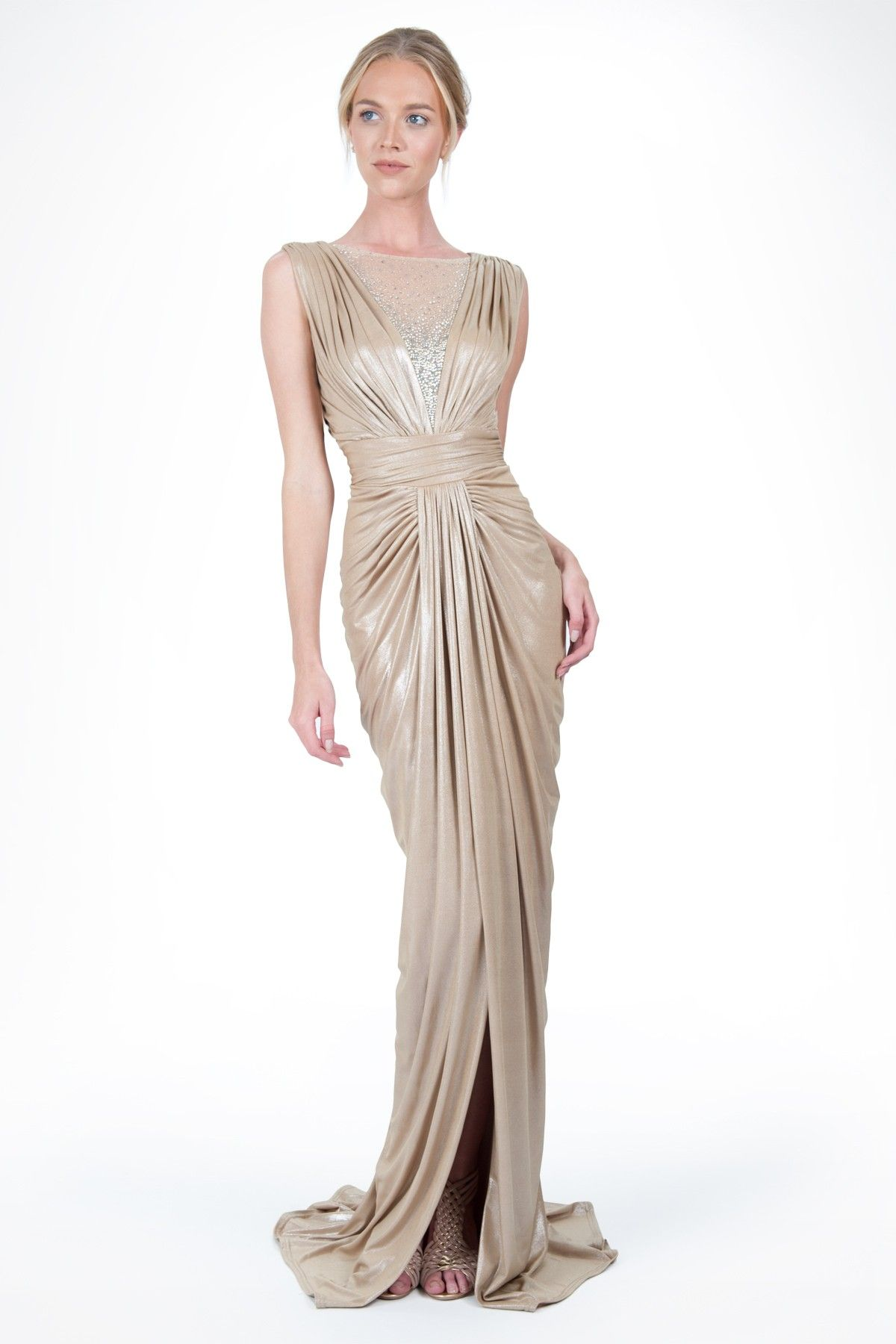 47561cdfdb Daughter s Prom Dress - Metallic Jersey Draped Gown with Rhinestone Tulle  Detail in Champagne by Tadashi Shoji