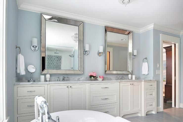 Ivory And Blue Bathroom With Beaded Beveled Mirrors Transitional