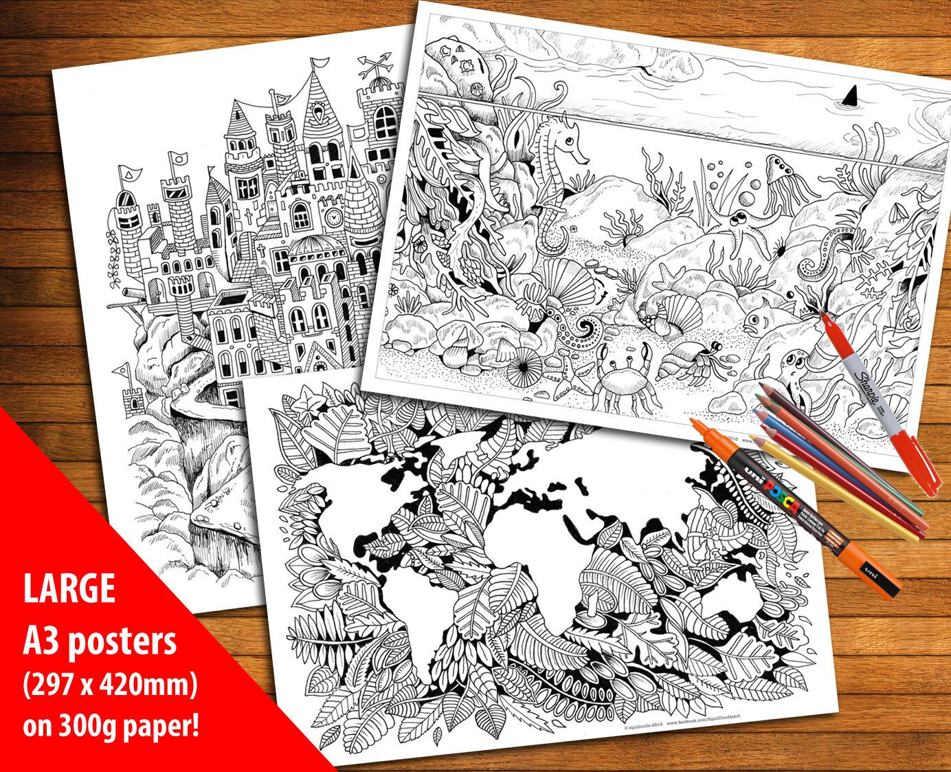 Set of THREE LARGE Coloring Posters - High quality heavyweight ...