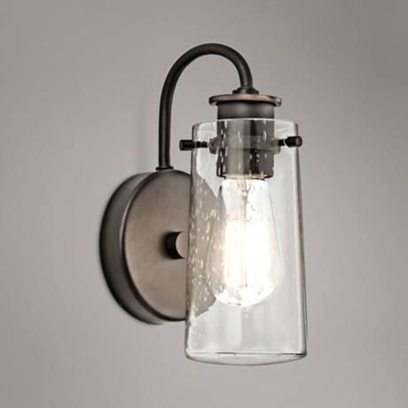 Sconce Bathroom Wall Sconces With Onoff Switch Kichler Braelyn 9 1 2 High Olde Bronze