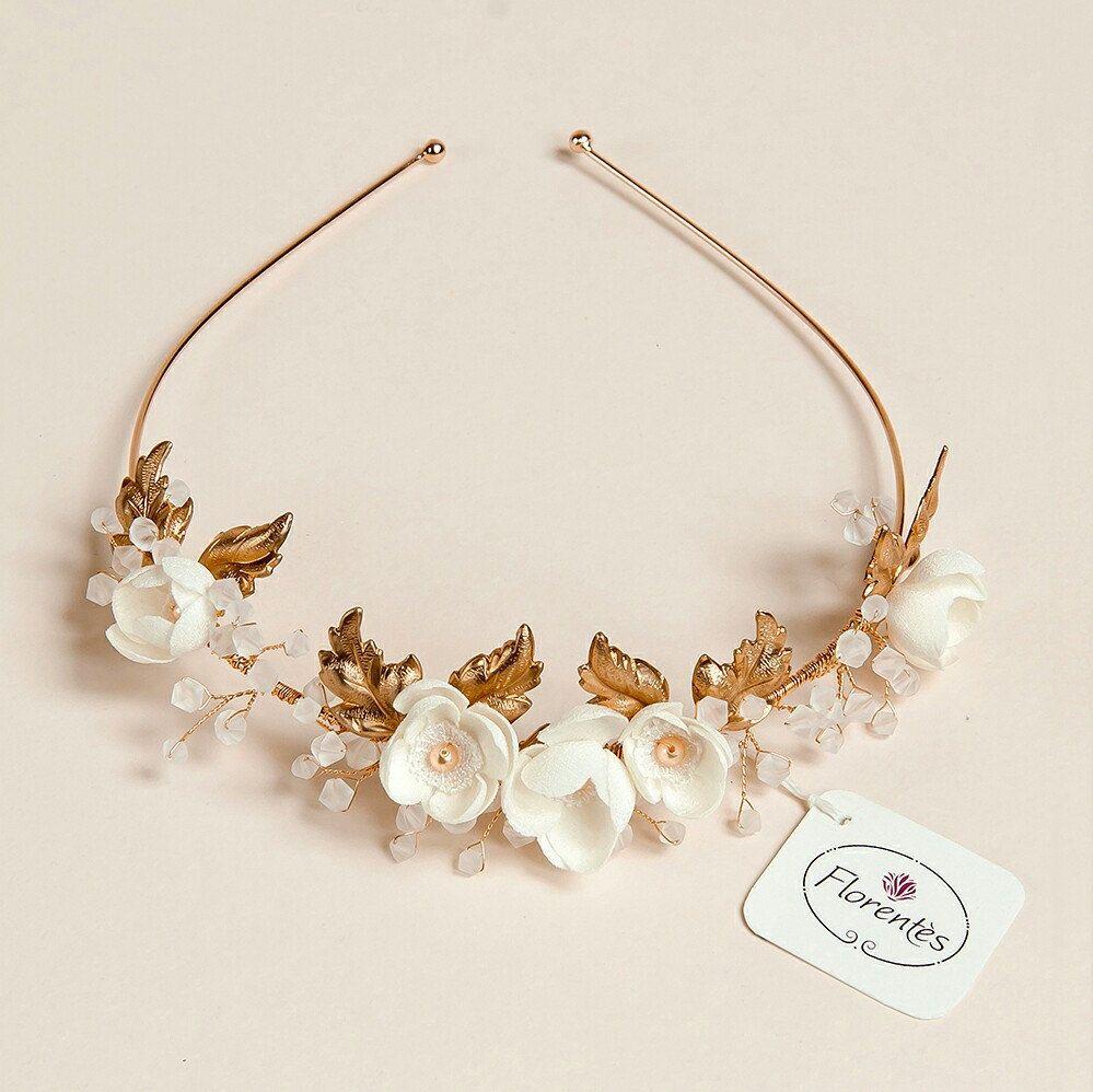 We wedding headpiece jewellery - Bridal Tiara Wedding Gold Tiara Bridal Headpiece Vine Leaves And Apple Blossom Headband Wedding Crown