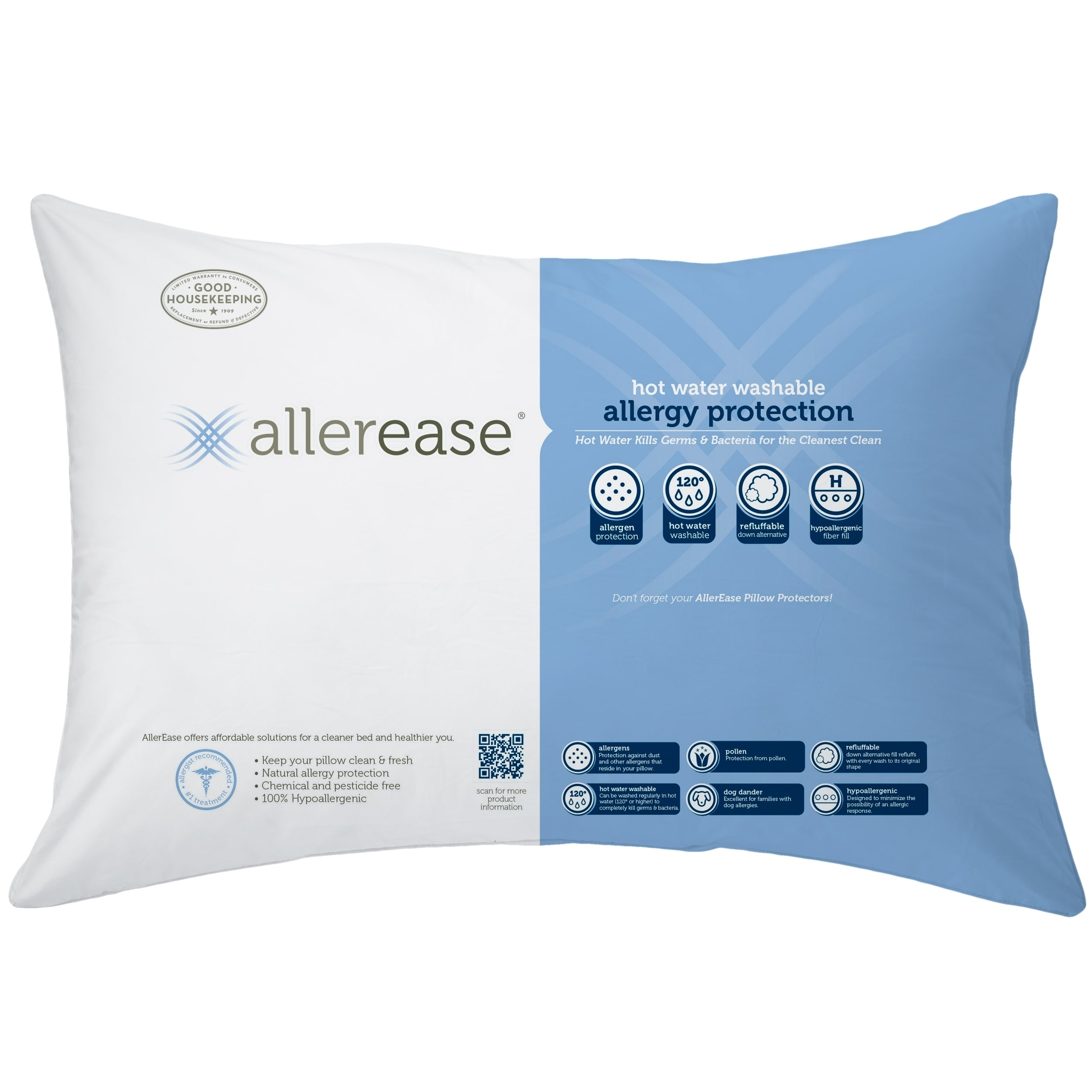 AllerEase Hot Water Washable Pillow, 2 Pack White (Jumco