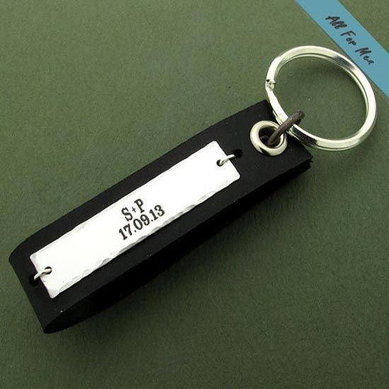 Personalized Mens Gift Custom Leather Keychain For Men