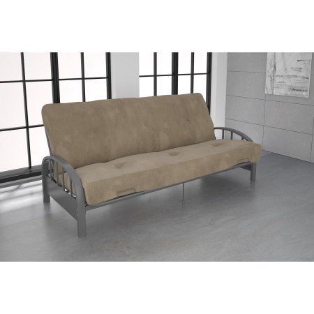 Dhp Aiden Silver Metal Futon Frame With Coil Full Futon Mattress Multiple Colors And Sizes Beige Futon Frame Full Futon Mattress Metal Futon