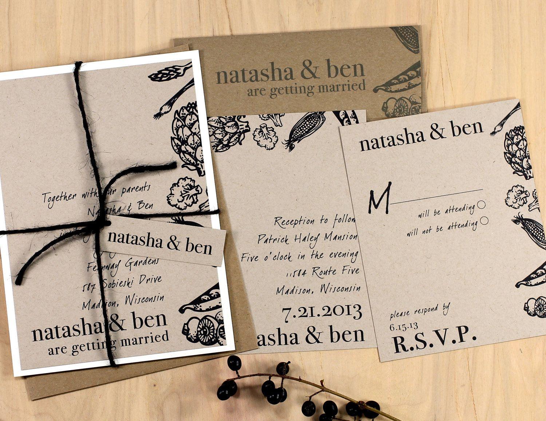 Natural Love  Rustic Wedding Invitations Eco by BeaconLane on Etsy, $100.00