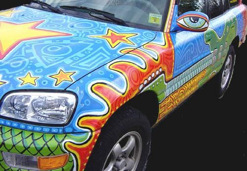 Unusual Painted Vehicles Art Car Friday Painted Patchwork Volvo - Cool painted cars