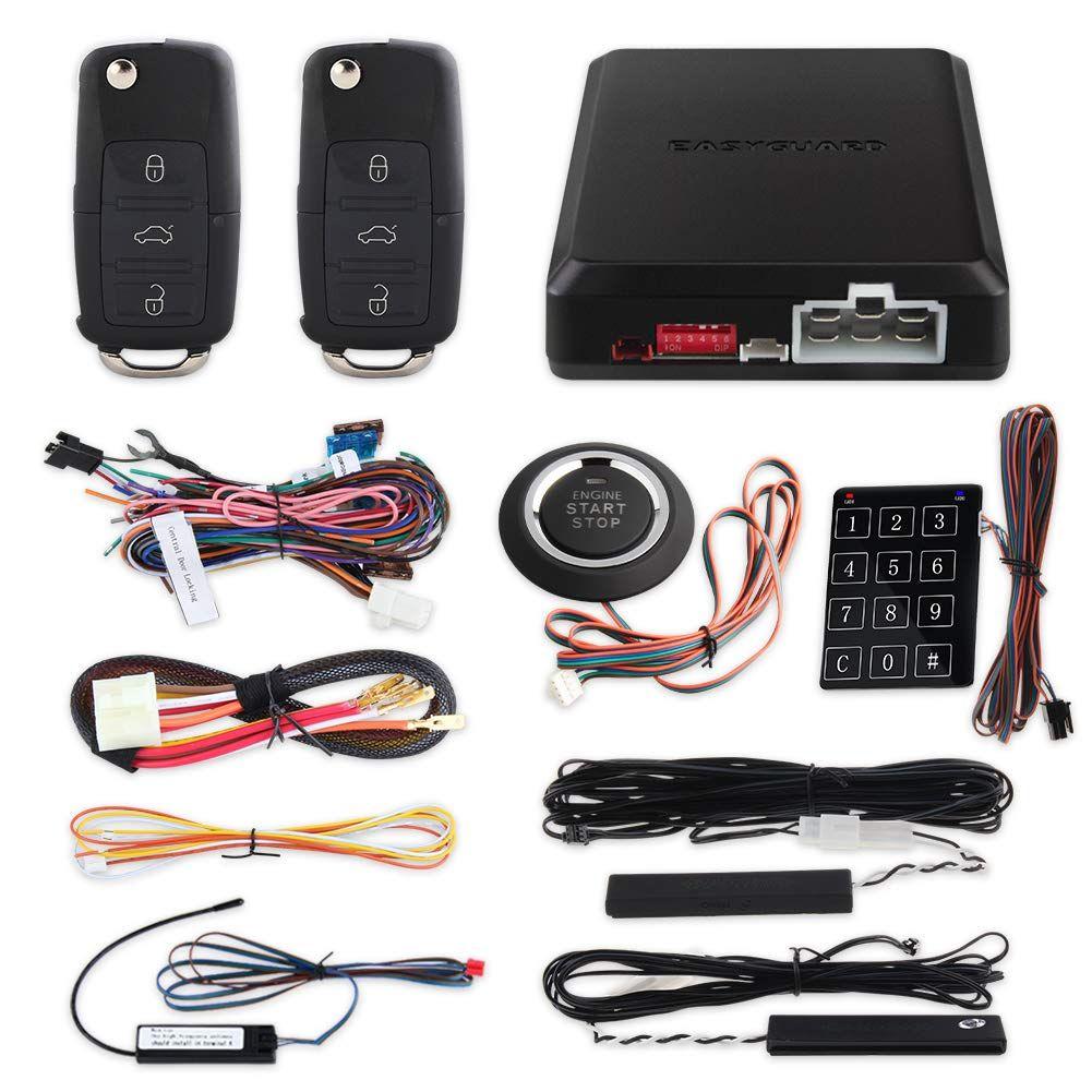 Easyguard Ec002 V Pke Car Alarm System Remote Starter Push Button Password Keypad Keyless Go System Hopping Code Click Keyless Entry Car Car Alarm Smart Key