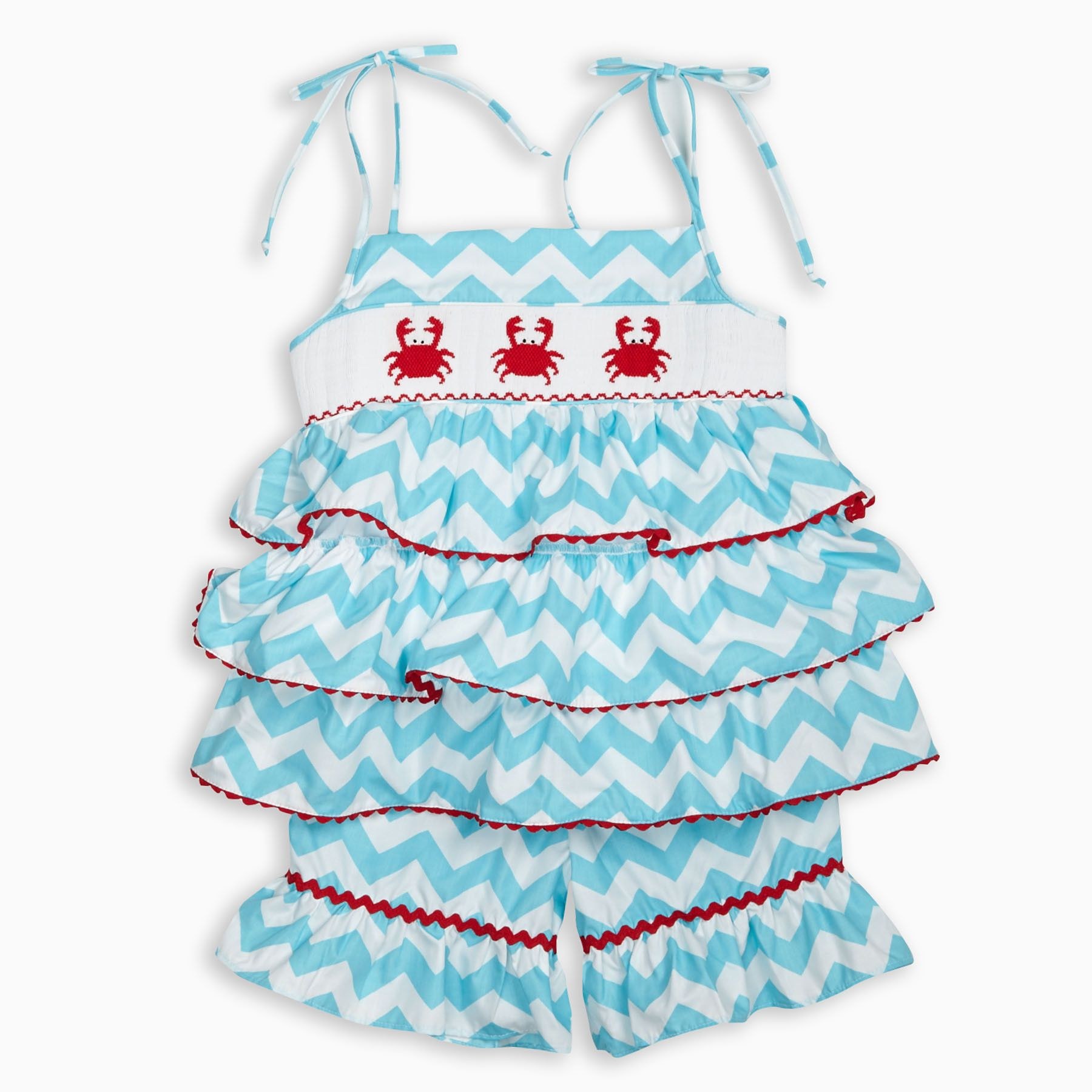 Dress code baby pink  Swoon Love this Turquoise Chevron Crab Smock Ruffle Short Set I