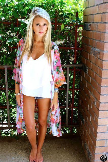 .jean shorts, oversized white top, floral kimono