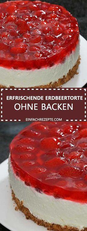Quark-Pudding-Torte mit Erdbeeren und Tortenguss ohne Backen #süßesbacken