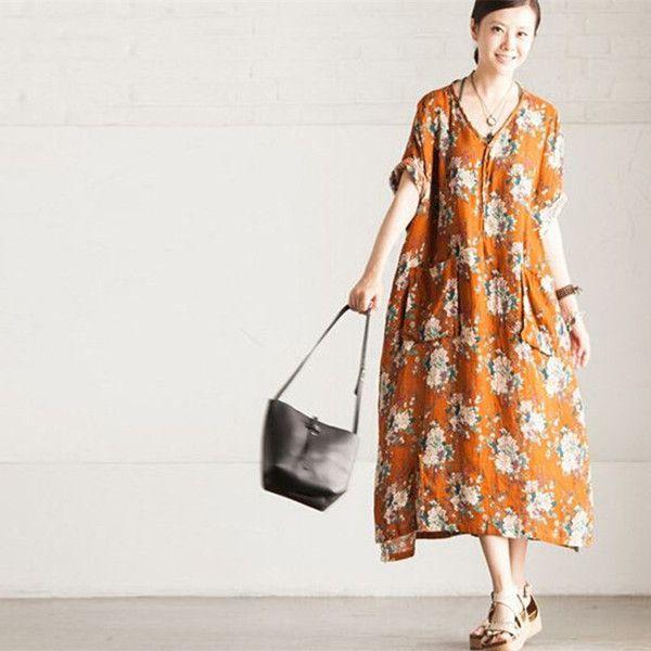 Casual løstsiddende bomuld kjole kortærmet Print sommerkjole - Buykud - 1