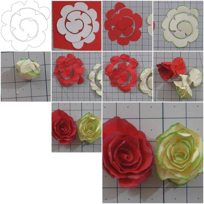 How to make simple paper roses flowers step by step diy for Simple handicraft project