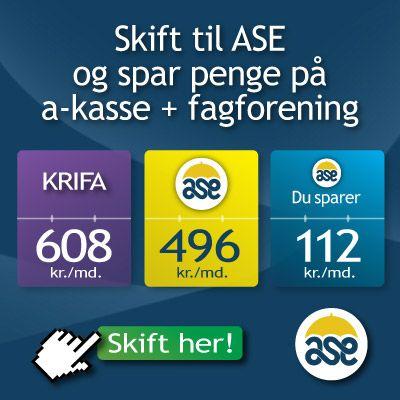 ASE a-kasse er en a-kasse for alle - selvstændige som lønmodtagere. Derudover er det én af de absolut billigste på markedet med ca 112 kr per måned billigere end KRIFA.
